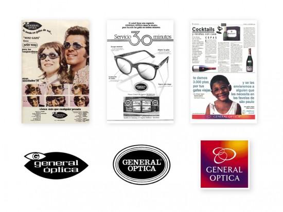 Evolución logo General Óptica en el tiempo y ejemplos publicidad