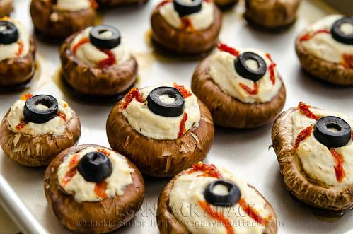 10 recetas sanas de Halloween para niños veganos y realfooders: Ojos de champiñón