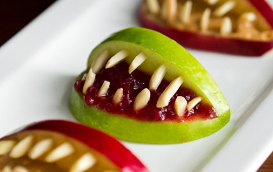 10 recetas sanas de Halloween para niños veganos y realfooders: Mordiscos de manzana