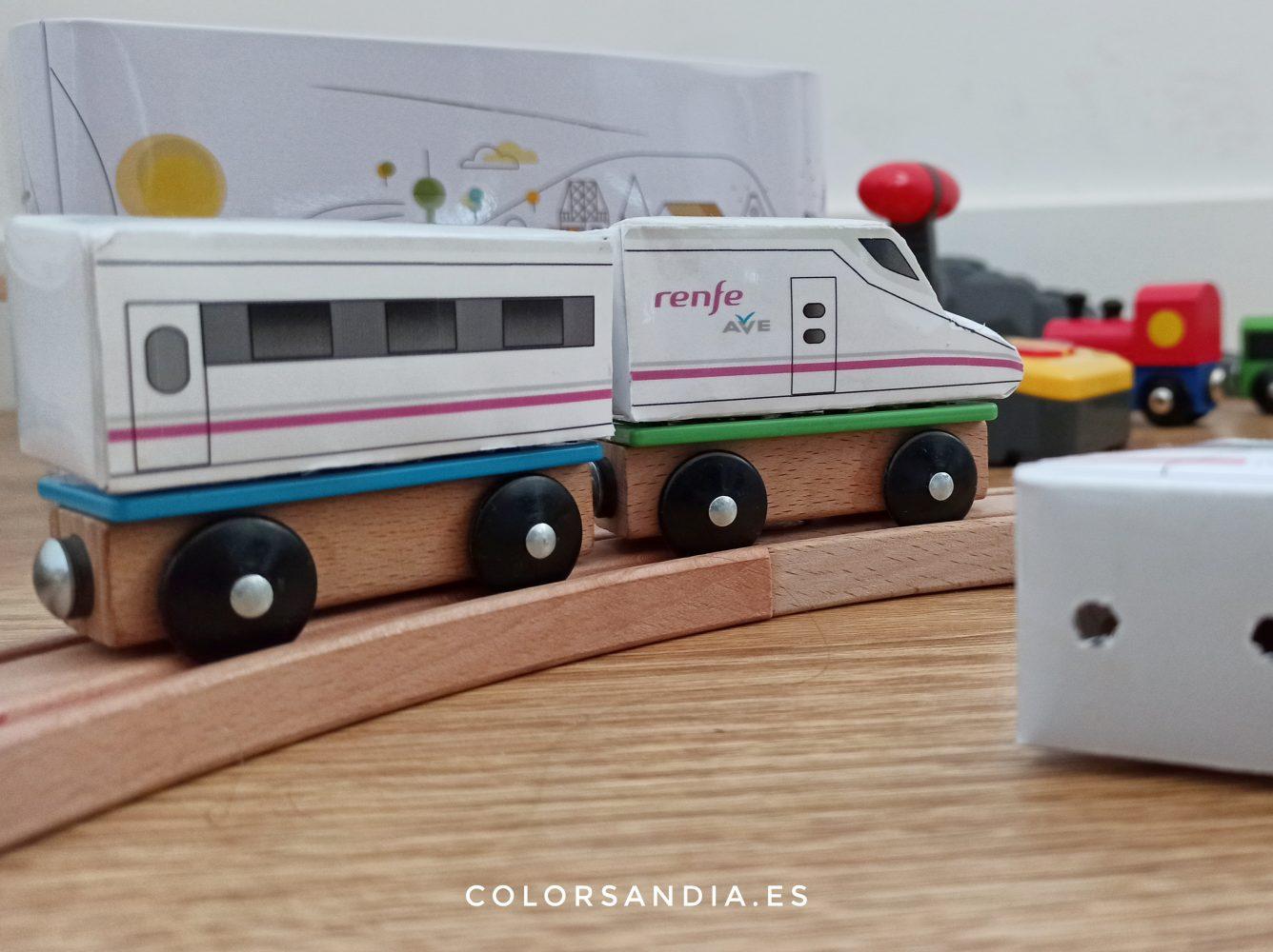 Plantillas descargables de trenes ICE y AVE de juguete para vagones Ikea