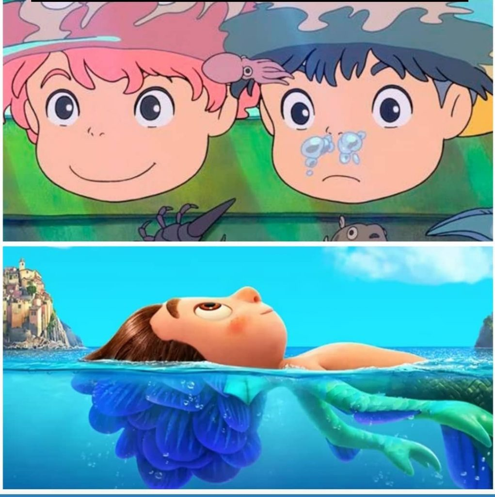 Escena acuática de Luca y Ponyo